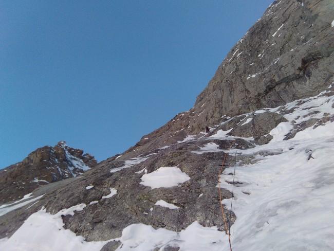 """Encore des placages fin en neige couic avant le bivouac de la """"Cueva"""""""