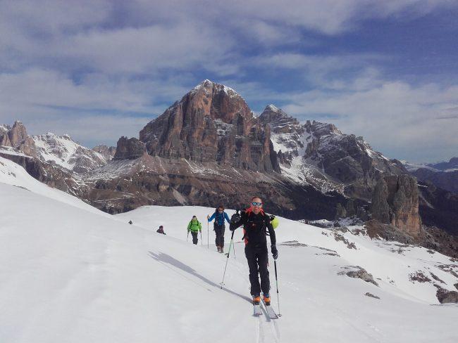 Rando à ski au Nuvolau dans le massif des cinq tours.