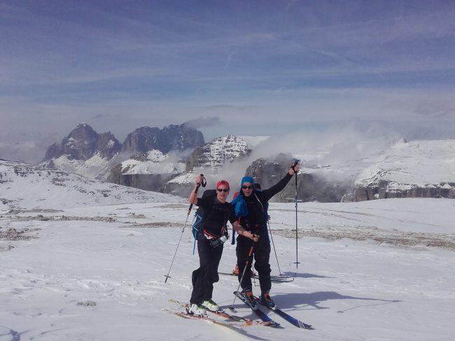 Randonnée à ski au Saas Pordoi et Val di Mesdi.