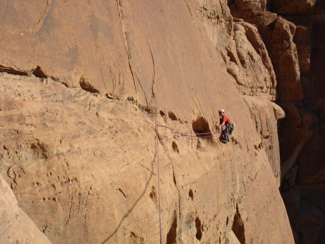 Une superbe traversée dans la voie No way for Ibex à Wadi Rum.