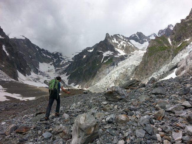Remontée du glacier du Miage à Gonella