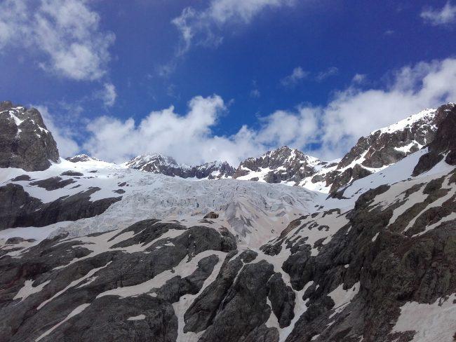 Le glacier Blanc et le pic du glacier d'Arsine en haut à droite