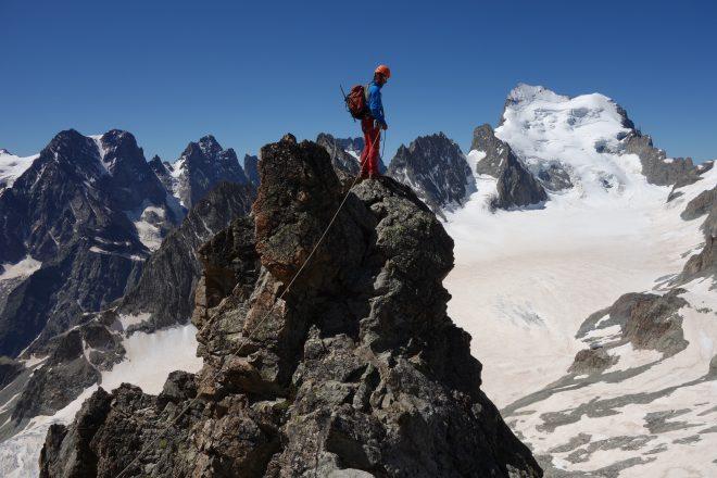 Barre des Ecrins et pic du glacier blanc.