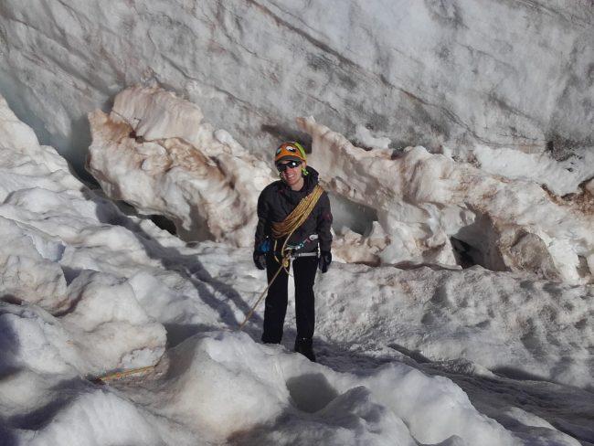 Exercice chute en crevasse au glacier blanc.