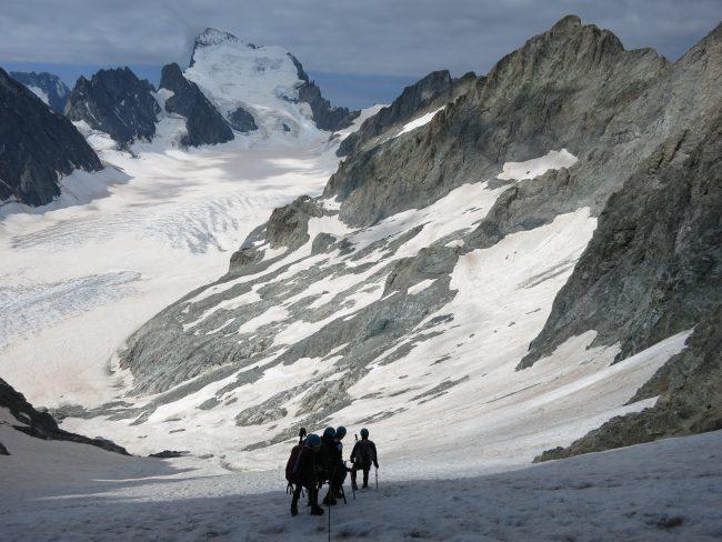Descente du pic du glacier blanc.