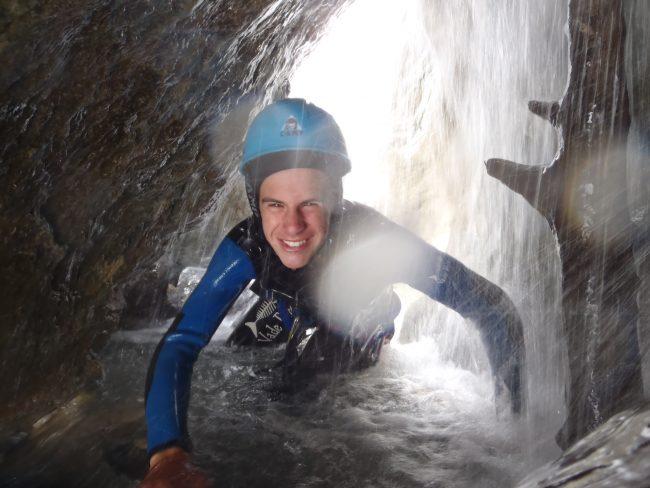 Etroiture dans le canyon des Acles à Plampinet.