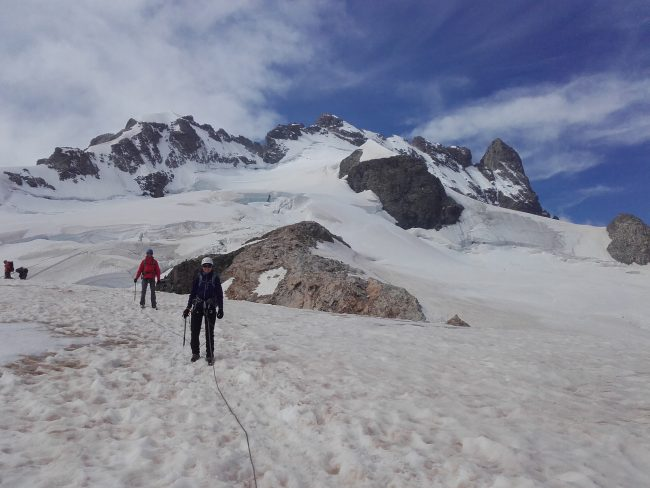 Le glacier du Tabuchet et la Meije.