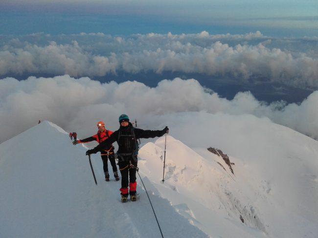 Arrivée au sommet du Mont Blanc.