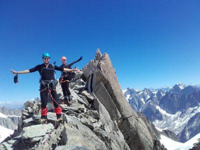 Un stage alpinisme rocher à Chamonix Mont Blanc.