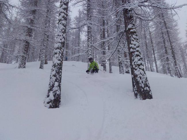 Belle chute de neige et pur ski à serre che.