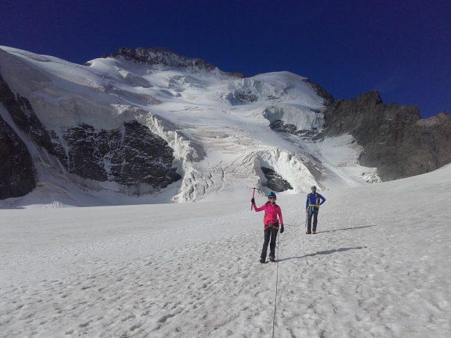 Le dôme et la barre des Ecrins dpuis le plat du Glacier Blanc.