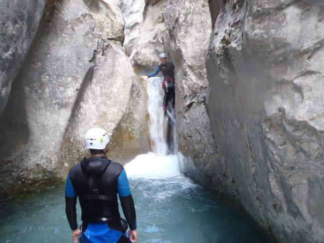 Dernier toboggan du canyon des Acles.
