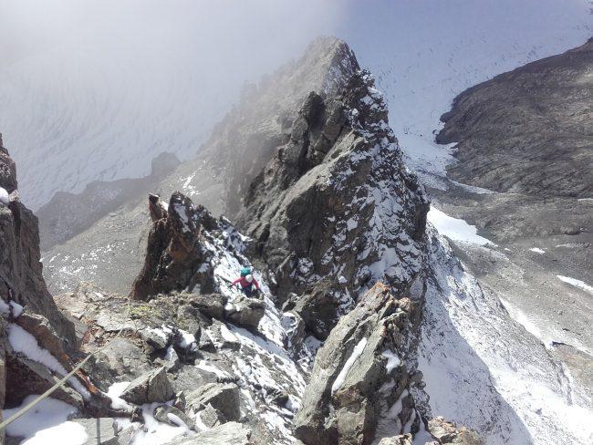 La dernière partie de l'arête sud du Pic du Glacier Blanc.