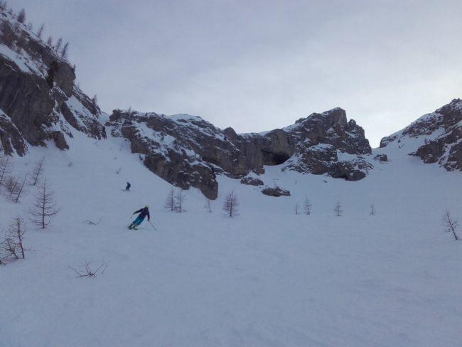 Ski du couloir de balme à Serre Chevalier.