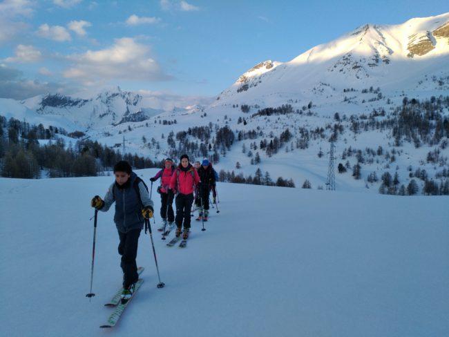 Départ de rando à ski à la tête de Paneyron.