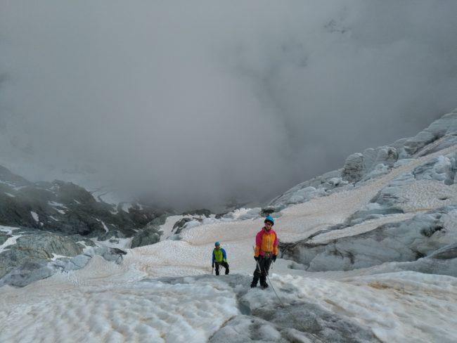 Randonnée sur le glacier blanc dans les Ecrins.