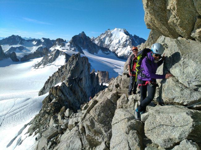 Escalade de l'aiguille du Tour avec un guide de haute montagne.