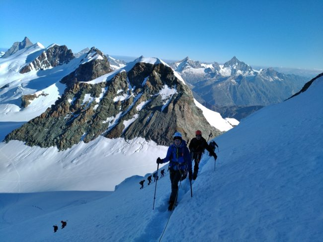La face ouest du Castor dans le massif du Mont Rose.