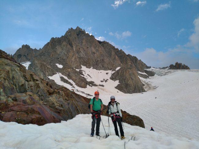 Montée avec un guide de haute montagne sur le glacier du tour.
